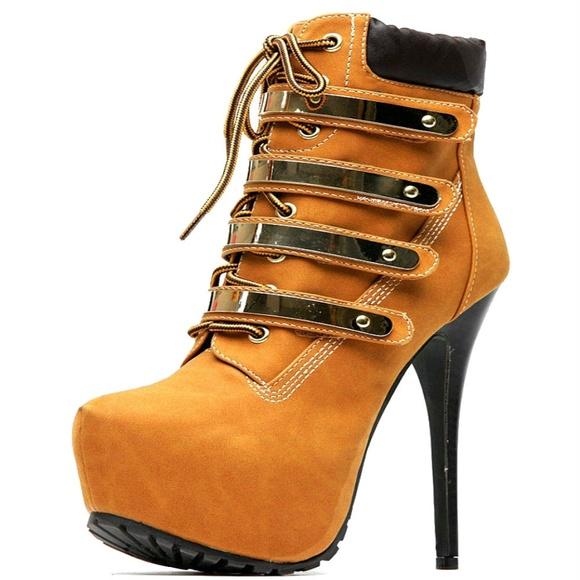 84b65f411e97 Gold Plated Strap Lace Up Platform Stiletto Bootie